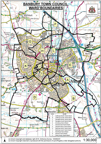 map of all the ward boundaries in Banbury